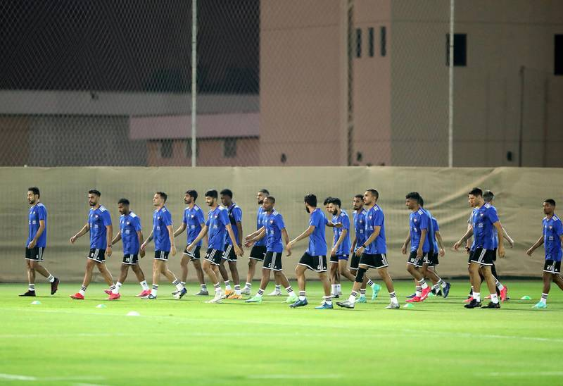 The UAE national team train before the game between the UAE and Malaysia in the World cup qualifiers at the Zabeel Stadium, Dubai on June 2nd, 2021. Chris Whiteoak / The National.  Reporter: John McAuley for Sport