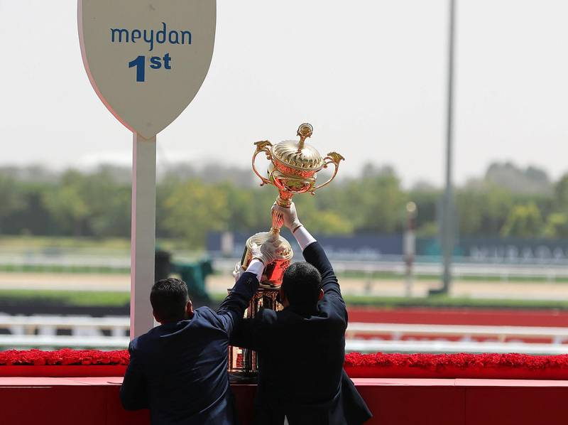 Dubai, United Arab Emirates - Reporter: Amith Passella. Sport. Racing. The Dubai World Cup trophy is brought out at Meydan Racecourse. Saturday, March 27th, 2021. Dubai. Chris Whiteoak / The National