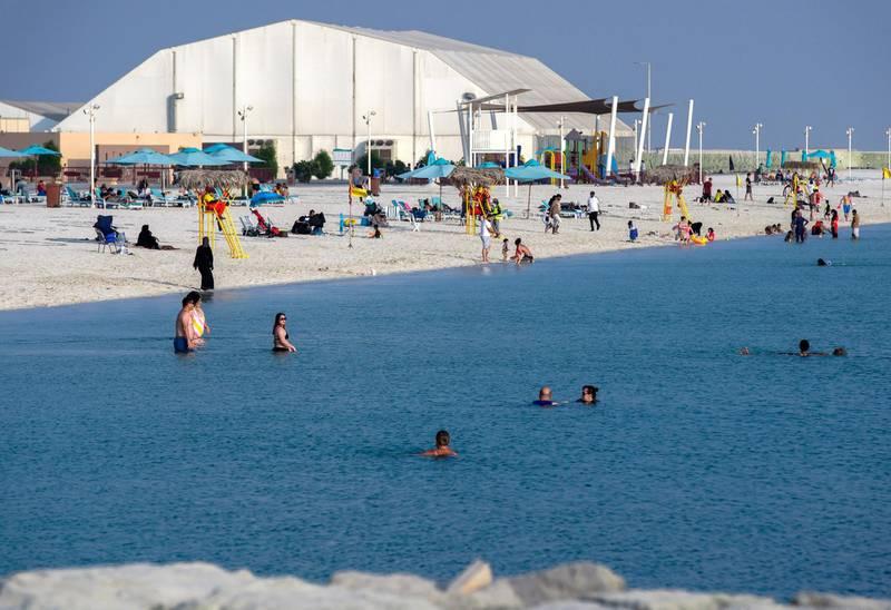 Abu Dhabi, United Arab Emirates, November 8, 2020.   The new Hudayriyat Leisure and Entertainment District at Hudayriyat Island.  The public beach area.Victor Besa/The NationalSection:  NAReporter:  Haneen Dajani