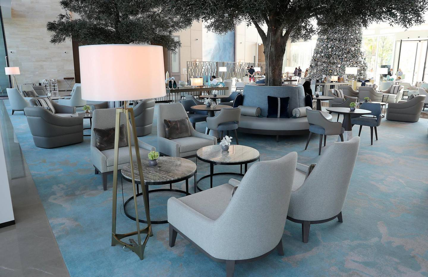 DUBAI, UNITED ARAB EMIRATES , December 24 – 2020 :-  View of the lobby area near the reception at the Address Beach Resort near Jumeirah Beach Residences in Dubai. ( Pawan Singh / The National ) For Lifestyle. Story by Janice