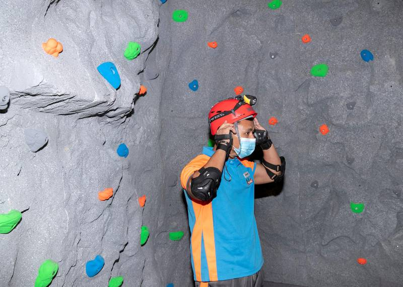 DUBAI, UNITED ARAB EMIRATES. 6 JANUARY 2021. Trampo Extreme in Palm's Nakheel Mall opened an indoor adventure cave experience.(Photo: Reem Mohammed/The National)Reporter:Section: