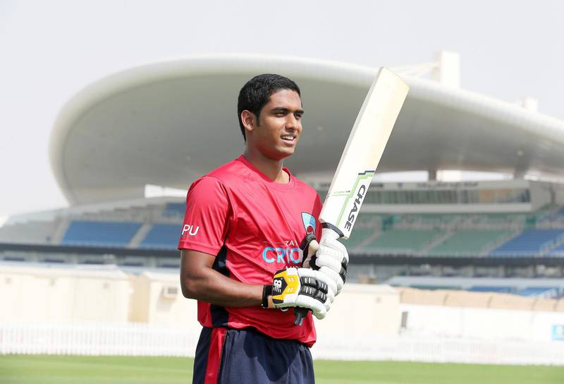 ABU DHABI ,  UNITED ARAB EMIRATES , AUGUST 22 – 2019 :- Jonathan Figy, a former UAE age group player now playing for Winchester College in England during the interview at the Zayed Cricket Academy in Abu Dhabi. ( Pawan Singh / The National ) For Sports. Story by Amith