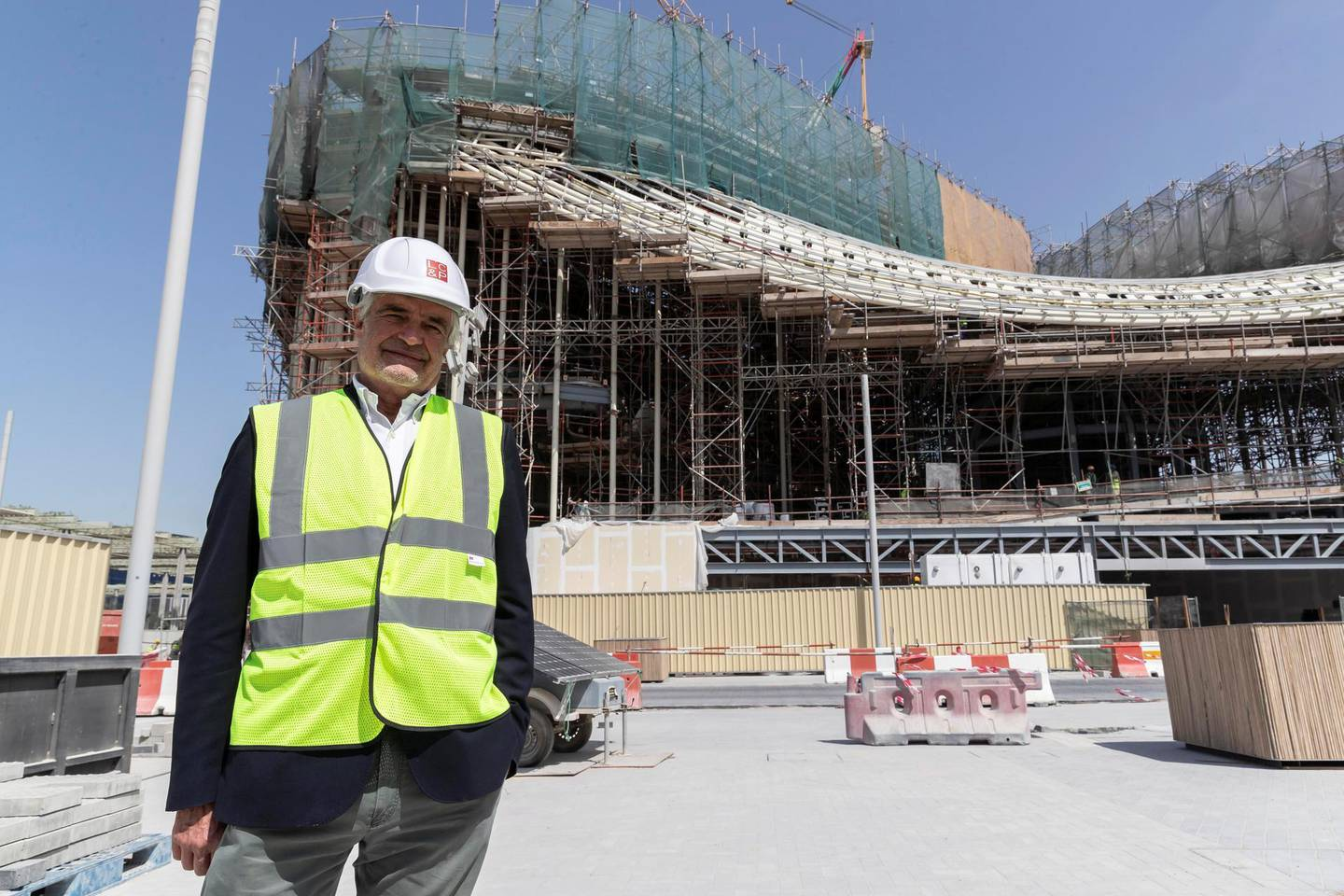 DUBAI, UNITED ARAB EMIRATES. 01 MARCH 2021. Italy expo commissioner Paolo Glisenti. Construction work continueing at full scale on the Italian Pavilion at the Expo 2021 site in Dubai. (Photo: Antonie Robertson/The National) Journalist: Ramola Talwar. Section: National.
