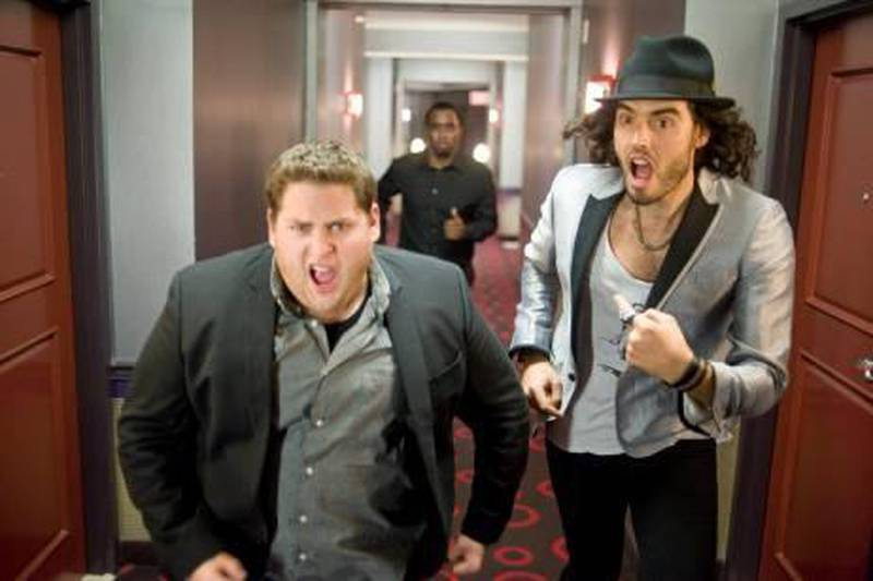 Jonah Hill as Aaron Greenberg and Russell Brand as Aldous Snow in Universal Pictures' Get Him to the Greek.