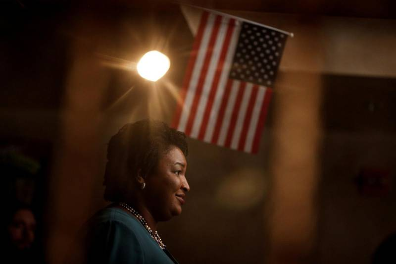 FILE PHOTO: Stacey Abrams, running for the Democratic primary for Georgia's 2018 governor's race, speaks at a Young Democrats of Cobb County meeting as she campaigns in Cobb County, Georgia, U.S. on November 16, 2017.  REUTERS/Chris Aluka Berry/File Photo