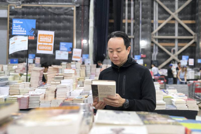 DUBAI, UNITED ARAB EMIRATES - OCTOBER 18, 2018. Andrew Yap, Managing Director, Big Bad Wolf.The Big Bad Wolf Sale Dubai has over 3 million brand new, English and Arabic books across all genres, from fiction, non-fiction to children's books, offered at 50%-80% discounts.(Photo by Reem Mohammed/The National)Reporter: ANAM RIZVISection:  NA