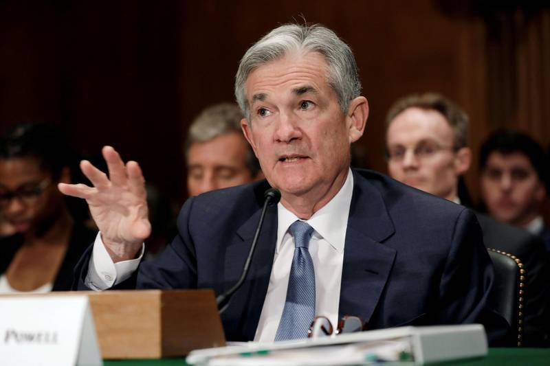 FILE PHOTO:    Federal Reserve Board Chairman Jerome Powell testifies before a Senate Banking Housing and Urban Affairs Committee hearing on the The Semiannual Monetary Policy Report to the Congress, on Capitol Hill in Washington, U.S., March 1, 2018. REUTERS/Yuri Gripas/File Photo