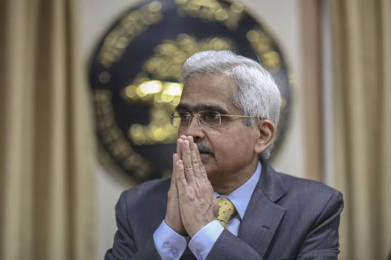 Shaktikanta Das, governor of the Reserve Bank of India (RBI), gestures during a news conference in Mumbai, India, on Thursday, Feb. 6, 2020. India'scentral bank left interest rates unchanged for a second straight meeting, while keeping the door open for more easing to support the economy when inflation eases. Photographer: Dhiraj Singh/Bloomberg