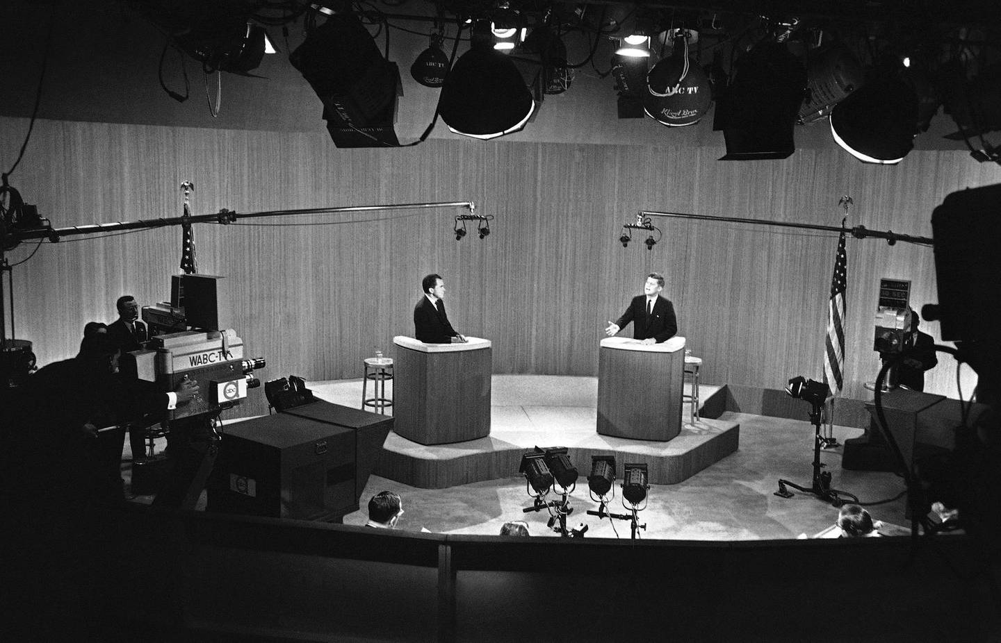 FILE - In this Dec. 8, 1960, file photo Sen. John F. Kennedy, D-Mass., and Vice President Richard M. Nixon appear in the fourth and final debate in New York. The 1960 presidential election offered the country's first televised debates. (AP Photo, File)