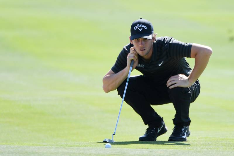 ABU DHABI, UNITED ARAB EMIRATES - JANUARY 19:  Thomas Pieters of Belgium lines up a putt on the eighth green during round two of the Abu Dhabi HSBC Golf Championship at Abu Dhabi Golf Club on January 19, 2018 in Abu Dhabi, United Arab Emirates.  (Photo by Ross Kinnaird/Getty Images)