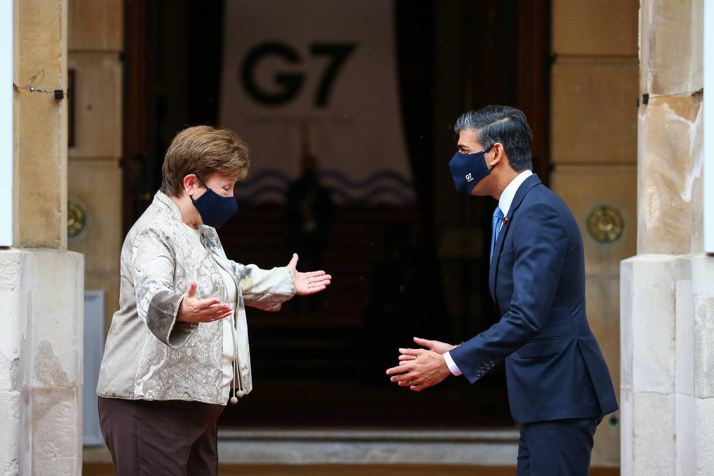 Rishi Sunak, U.K. Chancellor of the Exchequer, right, greets Kristalina Georgieva, managing director of the International Monetary Fund (IMF), on the first day of the Group of Seven Finance Ministers summit in London, U.K., on Friday, June 4, 2021. U.K. Chancellor Rishi Sunak will host G-7 finance ministers and central bank chiefs, ahead of the main summit next week. Photographer: Hollie Adams/Bloomberg