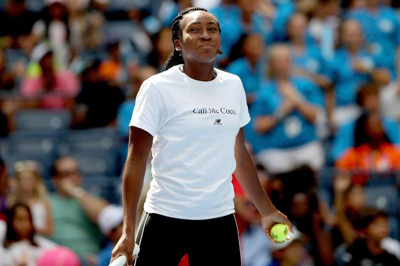 NEW YORK, NEW YORK - AUGUST 24: Cori Gauff makes an appearance at Arthur Ashe Kid's Day on center court at the USTA Billie Jean King National Tennis Center on August 24, 2019 in New York City.   Matthew Stockman/Getty Images/AFP == FOR NEWSPAPERS, INTERNET, TELCOS & TELEVISION USE ONLY ==