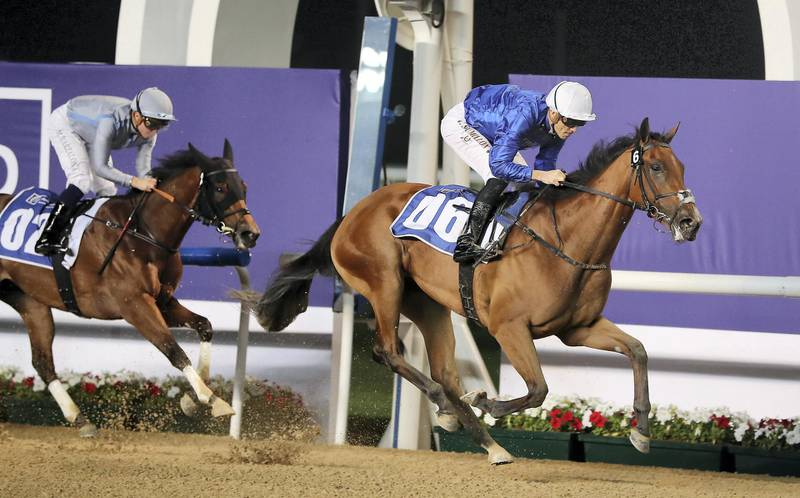 DUBAI , UNITED ARAB EMIRATES , Jan 02  – 2020 :-  Christophe Soumillon  (no 6 ) guides Final Song (IRE)  to win the 1st horse race, UAE 1000 Guineas Trial , 1400m dirt during the Dubai World Cup Carnival 1st Meeting at the Meydan Racecourse in Dubai. ( Pawan Singh / The National ) For Sports. Story by Amith