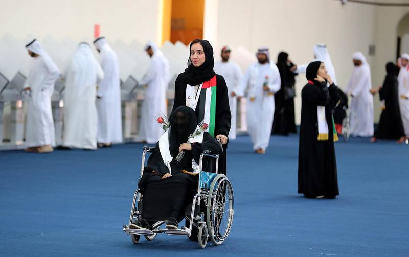 RAK,  UNITED ARAB EMIRATES , OCTOBER 5 – 2019 :- One of the voter after casting her vote for the FNC elections held at the RAK Exhibition Center in Ras Al Khaimah. ( Pawan Singh / The National ) For News. Story by Ruba