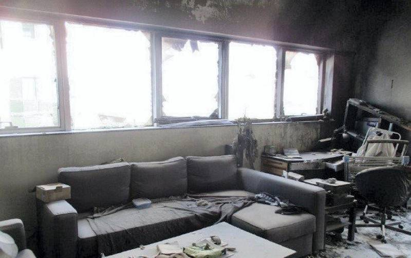 Living room at Zen Tower fire. courtesy: Rose City Contracting Company