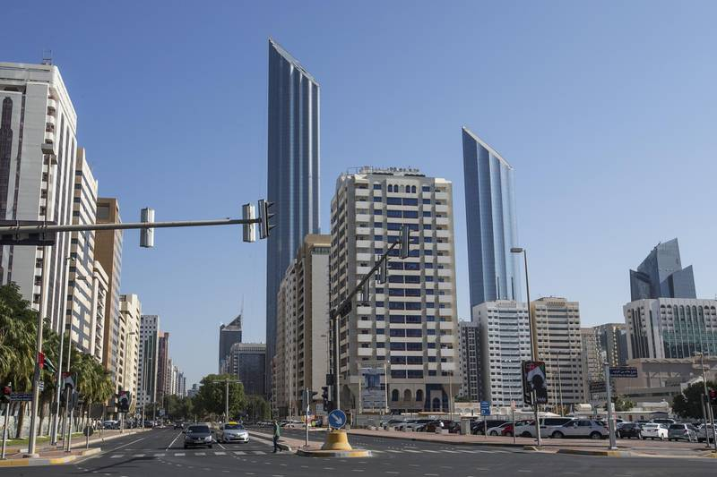 Abu Dhabi, United Arab Emirates. December 2, 2015///  High-end apartments for rent in the Corniche. World Trade Center building and  Burj Mohammed bin Rashid tower, view from street. Abu Dhabi, United Arab Emirates. Mona Al Marzooqi/ The National   ID: 31783 Section: Business  *** Local Caption *** 151202-MM-BZ-STOCK-Corniche31783-016.JPG