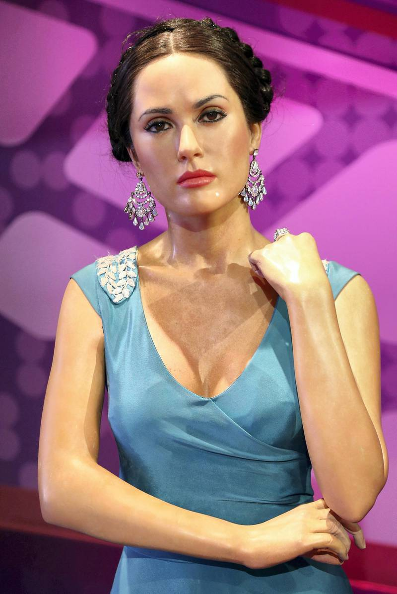 HOLLYWOOD, CA - JANUARY 06:  A wax figure of actress Salma Hayek is displayed at Madame Tussauds on January 6, 2014 in Hollywood, California.  (Photo by David Livingston/Getty Images)