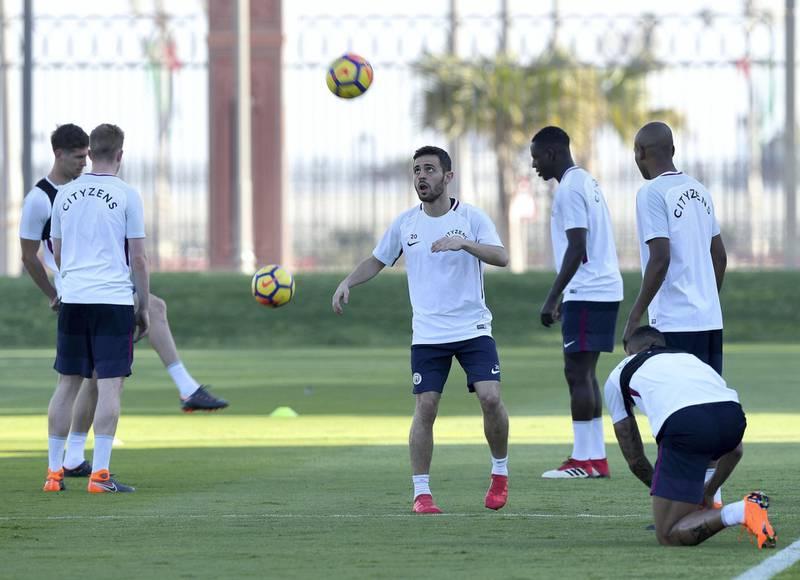 Abu Dhabi, United Arab Emirates - March 15th, 2018: Bernardo Silva of Manchester City during a training session in Abu Dhabi. Thursday, March 15th, 2018. Emirates Palace, Abu Dhabi. Chris Whiteoak / The National