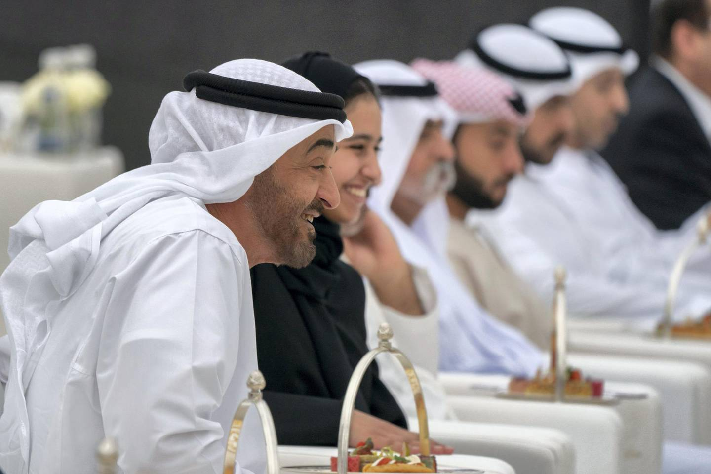 ABU DHABI, UNITED ARAB EMIRATES - March 23, 2019: HH Sheikh Mohamed bin Zayed Al Nahyan, Crown Prince of Abu Dhabi and Deputy Supreme Commander of the UAE Armed Forces (L) and HH Sheikha Hassa bint Mohamed bin Zayed Al Nahyan (2nd L), watch an equestrian performance by the Spanish Riding School of Vienna, at Emirates Palace.  ( Mohamed Al Hammadi / Ministry of Presidential Affairs ) ---