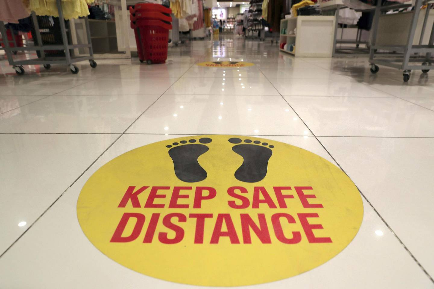 RAK, UNITED ARAB EMIRATES , May 28 – 2020 :- Safety stickers at the Redtag store at the Al Naeem City Center in Ras Al Khaimah. UAE government lift the coronavirus restriction for the residents and businesses around the country. (Pawan Singh / The National) For News/Online/Stock/Instagram.