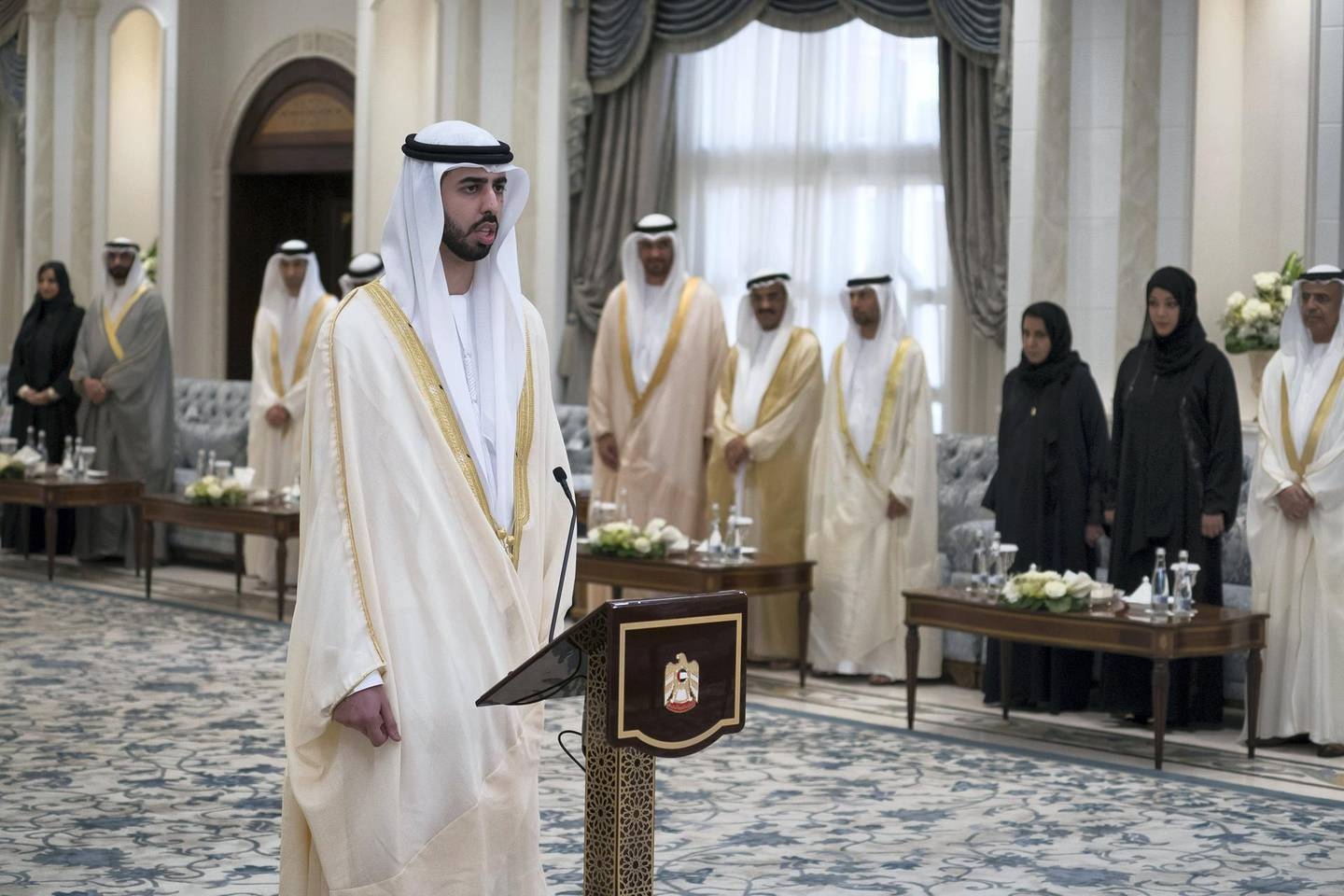 ABU DHABI, UNITED ARAB EMIRATES - October 31, 2017: HE Omar bin Sultan Al Olama, UAE Minister of State for Artificial Intelligence, gives his oath, during a swearing-in ceremony for newly appointed ministers, at Mushrif Palace.  ( Hamad Al Kaabi / Crown Prince Court - Abu Dhabi ) ---