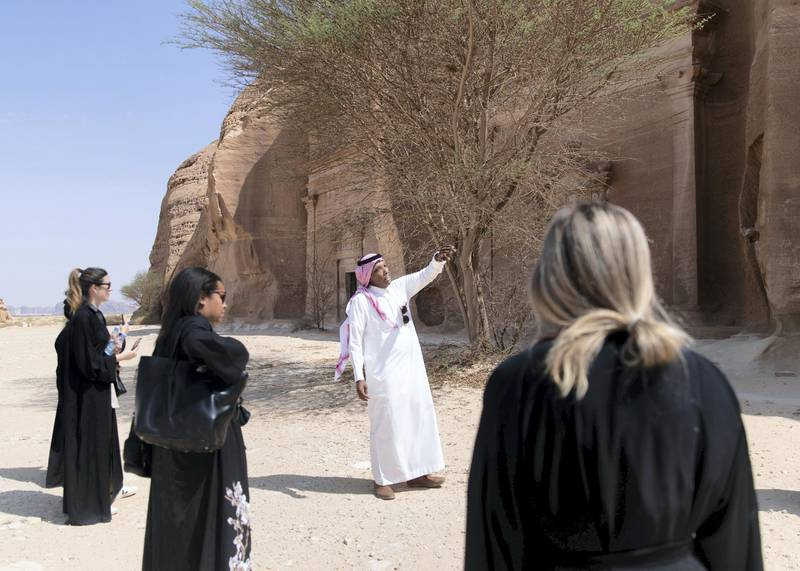 RIYADH, KINGDOM OF SAUDI ARABIA. 29 SEPTEMBER 2019. Sulaiman Al Juwayhil, tour guide in Al Ula, giving a tour in Madaen Saleh.(Photo: Reem Mohammed/The National)Reporter:Section: