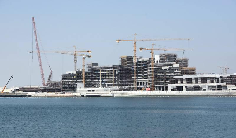 Abu Dhabi, United Arab Emirates - Hilton Hotel under construction at the waterfront of Yas Bay. Khushnum Bhandari for The National