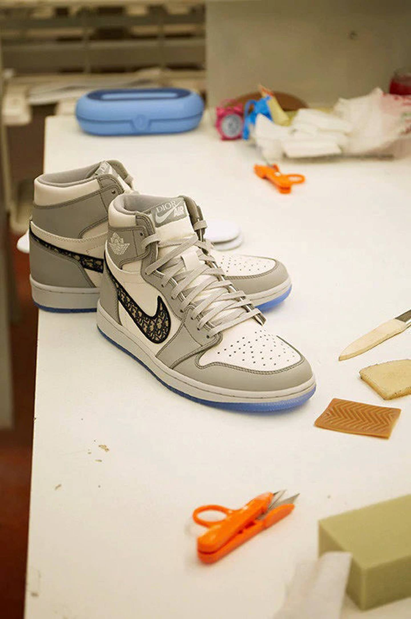 The limited edition Air Jordan 1 OG Dior being made. Courtesy Dior