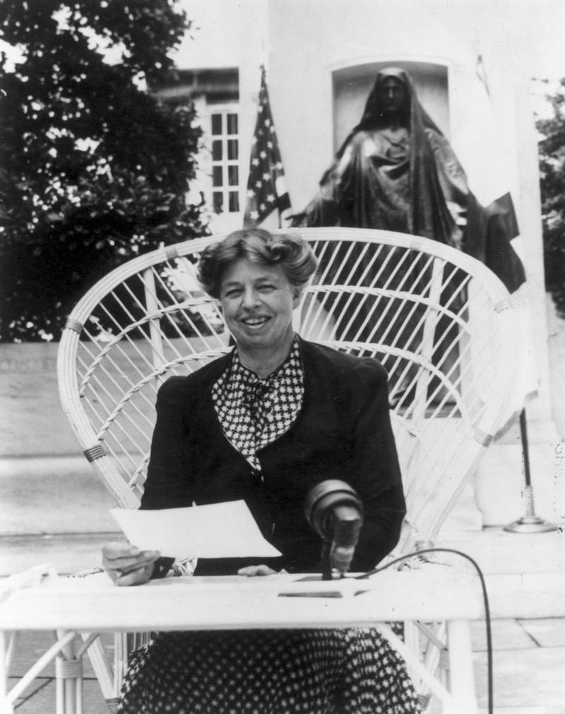 1940:  American humanitarian and wife of President Franklin Delano Roosevelt, Eleanor Roosevelt (1882 - 1962) making an address at the headquarters of the American Red Cross at Washington DC appealing for donations to a Red Cross War Relief drive.  (Photo by Hulton Archive/Getty Images)