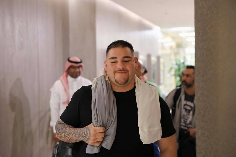 Riyadh, Saudi Arabia. November 26: World Champion Andy Ruiz arraives at Riyadh airport in Saudi Arabia for the Clash On The Dunes. Courtesy Diriyah Season