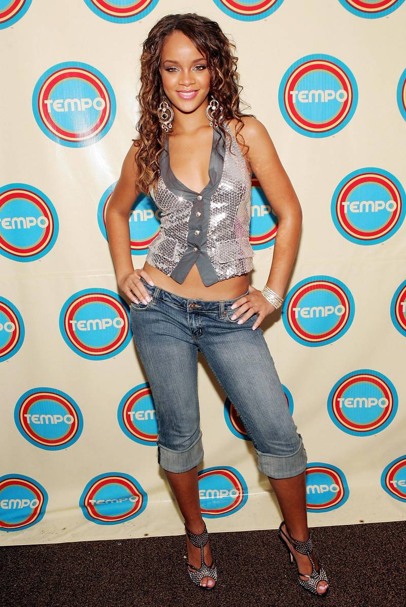 BARBADOS, W.I. - OCTOBER 22:  Singer Rihanna poses backstage during a MTV Networks Tempo Channel launch event at The Plantation & Garden Theater October 22, 2005 Christ Church, Barbados, W.I. (Photo by Evan Agostini/Getty Images for Tempo)