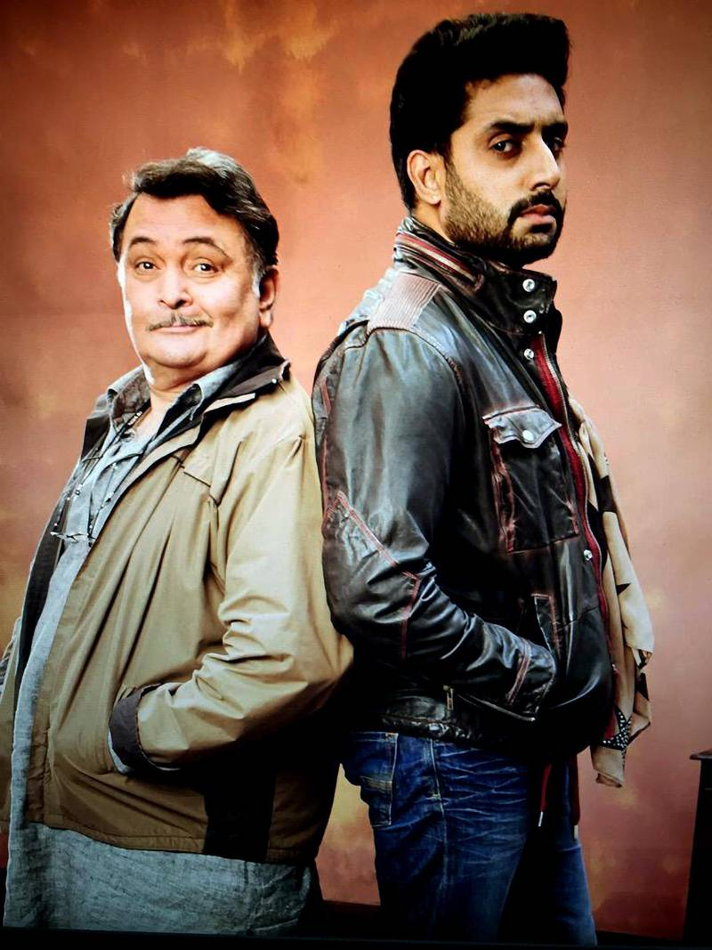 Rishi Kapoor & Abhishek Bachchan From All Is Well Movie. 2015 CREDIT: Courtesy Cloud Media Productions *** Local Caption ***  al28ju-Bolly Summer-All is Well.jpg