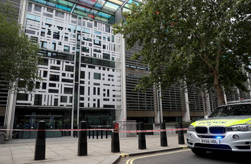 A general view of the Home Office, after the area has been cordoned off by police following an incident, in London, Britain August 15, 2019. REUTERS/Simon Dawson