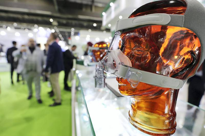 Dubai, United Arab Emirates - Reporter: Dan Sanderson: Nasal CPAP mask used for non invasive ventilation. Thousands of people gather for the Arab Health conference. Monday, January 27th, 2020. World trade centre, Dubai. Chris Whiteoak / The National