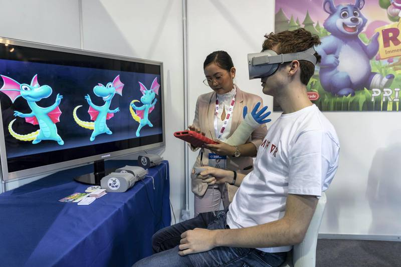 DUBAI, UNITED ARAB EMIRATES. 28 JANUARY 2020. Roomi, an interactive VR expereince for kids who are having cast or bandages placed and removed in medical facilities at Arab Health. (Photo: Antonie Robertson/The National) Journalist: Nick Webster. Section: National.