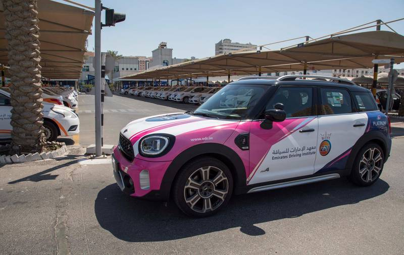 Dubai, United Arab Emirates - A Mini Cooper specially for women drivers at the Emirates Driving Institute, Dubai.  Leslie Pableo for The National