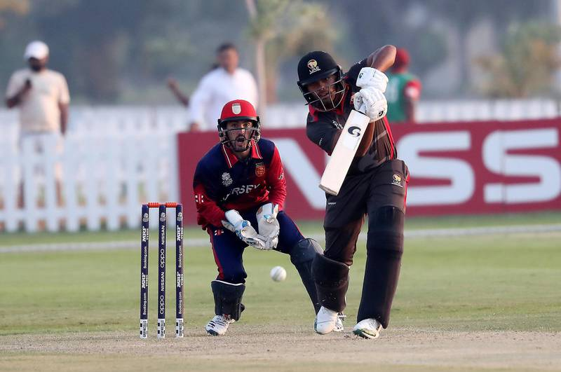 ABU DHABI , UNITED ARAB EMIRATES , October 22  – 2019 :- Darius D'Silva of UAE playing a shot  during the World Cup T20 Qualifiers between UAE vs Jersey held at Tolerance Oval cricket ground in Abu Dhabi.  ( Pawan Singh / The National )  For Sports. Story by Paul