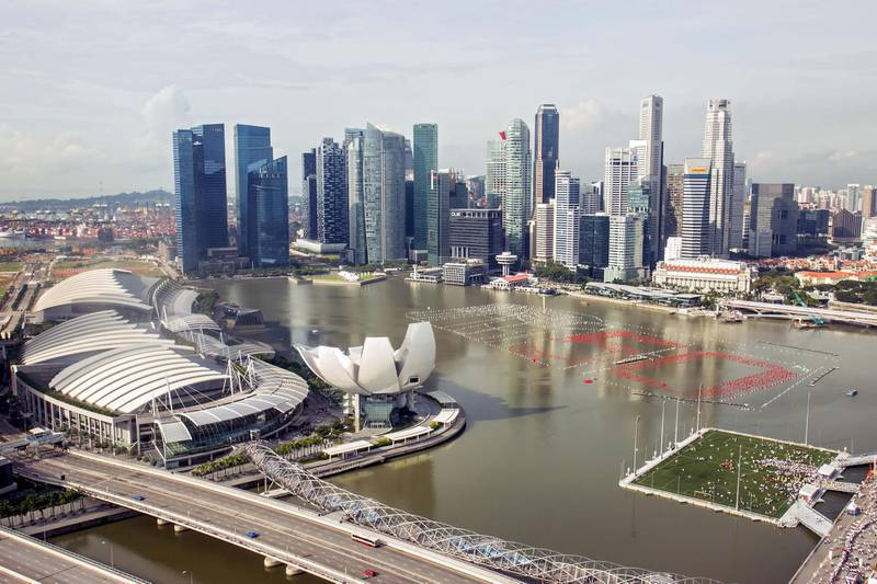 EH70WH views of the Marina Bay Singapore. Image shot 12/2014. Exact date unknown. Alamy