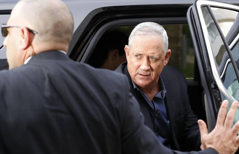 Leader of Israeli centrist party Blue and White electoral alliance Benny Gantz arrives for a meeting with hed of the Israeli secular nationalist Yisrael Beiteinu party in the central city of Ramat Gan, on March 9, 2020. / AFP / JACK GUEZ