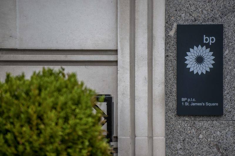 A sign sits on the offices of BP Plc in London, U.K., on Tuesday, March 10, 2020. While the U.K. authorities have abandoned efforts to contain the coronavirus, focusing on delaying the worst of the outbreak, financial-services companies are grappling with policy as several offices cope with health scares. Photographer: Chris J. Ratcliffe/Bloomberg
