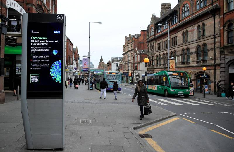 Coronavirus information being shown on an LED information board on Upper Parliament Street in Nottingham after NHS England announced that the coronavirus death toll had reached 137 in the UK. (Photo by Simon Cooper/PA Images via Getty Images)