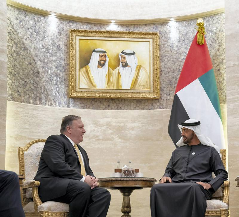 ABU DHABI, UNITED ARAB EMIRATES - January 12, 2019: HH Sheikh Mohamed bin Zayed Al Nahyan, Crown Prince of Abu Dhabi and Deputy Supreme Commander of the UAE Armed Forces (R), meets with Michael Pompeo, US Secretary of State (L), at Al Shati Palace.  ( Mohamed Al Hammadi / Ministry of Presidential Affairs ) ---