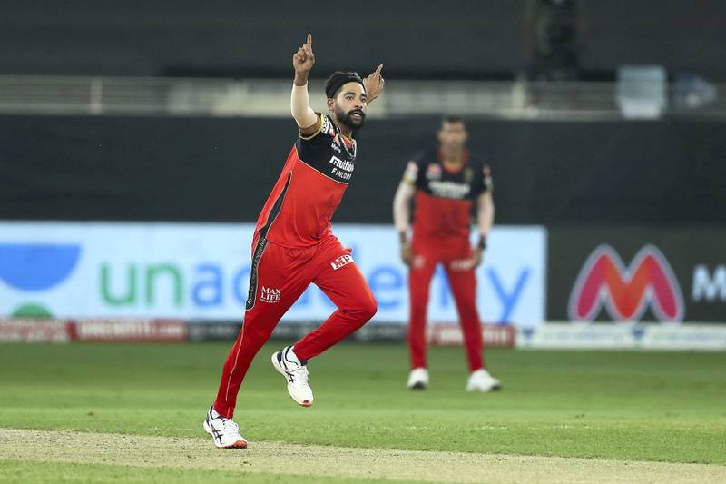 Mohammed Siraj of Royal Challengers Bangalore celebrates the wicket of Prithvi Shaw of Delhi Capitals during match 19 of season 13 of the Dream 11 Indian Premier League (IPL) between the Royal Challengers Bangalore and the  Delhi Capitals held at the Dubai International Cricket Stadium, Dubai in the United Arab Emirates on the 5th October 2020.  Photo by: Ron Gaunt  / Sportzpics for BCCI
