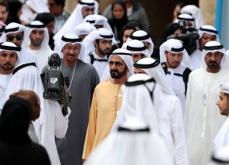Dubai, United Arab Emirates - February 11, 2019: Sheikh Mohammed bin Rashid Al Maktoum on day 2 at the World Government Summit. Monday the 11th of February 2019 at Madinat, Dubai. Chris Whiteoak / The National