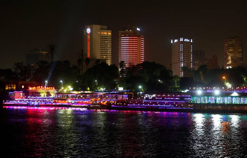 River cruise boats are parked on the Nile River in Cairo, Egypt September 17, 2017. The Sheraton hotel can be seen in the background. REUTERS/Amr Abdallah Dalsh