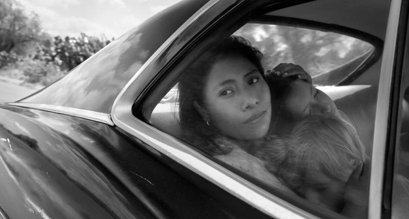 """This image released by Netflix shows Yalitza Aparicio in a scene from the film """"Roma,"""" by filmmaker Alfonso Cuaron. The film is nominated for an Oscar for best picture and best foreign film. The 91st Academy Awards will be held on Feb. 24. (Alfonso Cuarón/Netflix via AP)"""