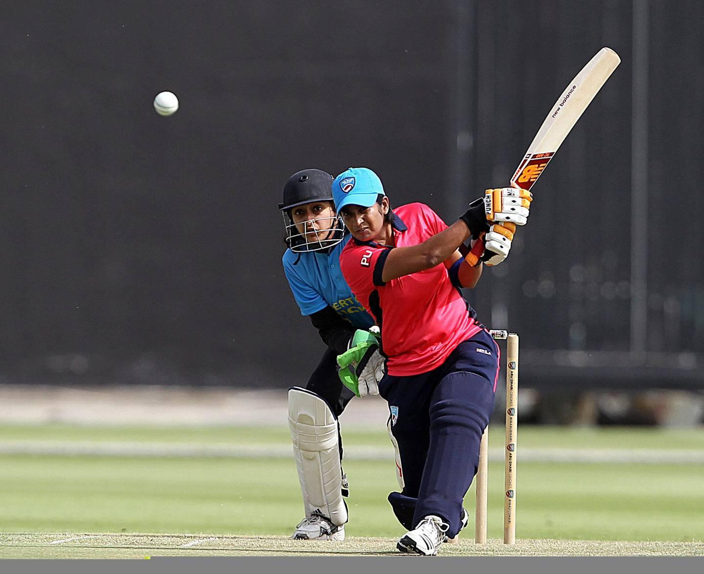 Abu Dhabi, May 11, 2018: Chamani Seneviratne, former Sri Lanka captain  in action at the Zayed Cricket Stadium in Abu Dhabi . Satish Kumar for the National / Story by Amit Pasella