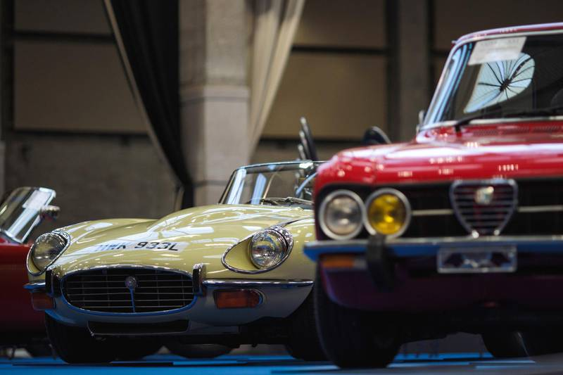 LONDON, ENGLAND - APRIL 11: A 1973 Jaguar E-type V12 Roadster (estimate £170,000 - £225,000) is displayed inside the Royal Horticultural Halls on April 11, 2017 in London, England. Coys automobile auctioneers are putting almost 70 classic cars up for auction in their Spring Classics sale in Westminster tomorrow, April 12, 2017. (Photo by Jack Taylor/Getty Images)