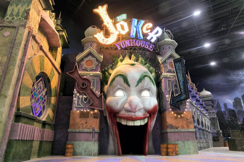 ABU DHABI, UNITED ARAB EMIRATES - JULY 11, 2018. The Joker Funhouse at Gotham City park in Warner Bros. World Abu Dhabi.Warner Bros. World Abu Dhabi will be the world's first ever Warner Bros. branded indoor theme park, opening on the 25th of July 2018 on Yas Island, the UAE's premier Family destination for entertainment & leisure. (Photo by Reem Mohammed/The National)Reporter: Rupert Hawksley Section: AC