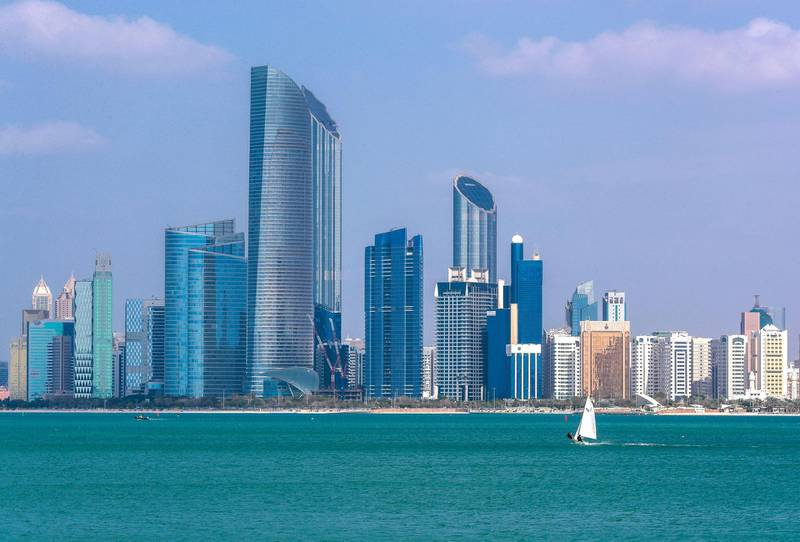 Abu Dhabi, U.A.E., February 12, 2019. Sunny but chilly weather at the Corniche.-- (Probable Big Picture) Watersports enthusiasts enjoy the beautiful weather.Victor Besa/The NationalSection:  NAReporter:   Mustafa AlRawi
